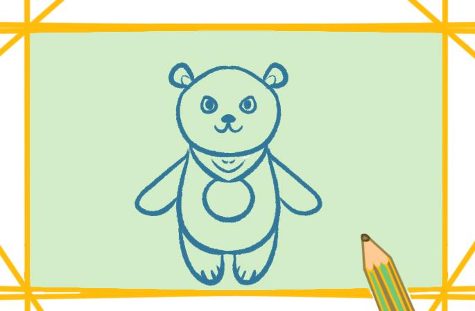玩偶熊簡筆畫帶顏色怎么畫