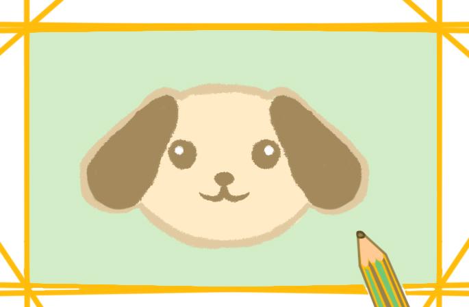 卡通的狗狗簡筆畫帶顏色怎么畫超簡單