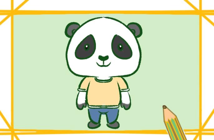 卡通的大熊猫简笔画图片怎么画