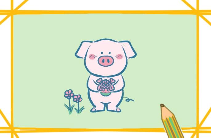 萌萌的卡通小猪简笔画图片怎么画