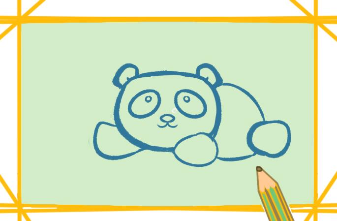 黑白色的大熊猫上色简笔画图片教程