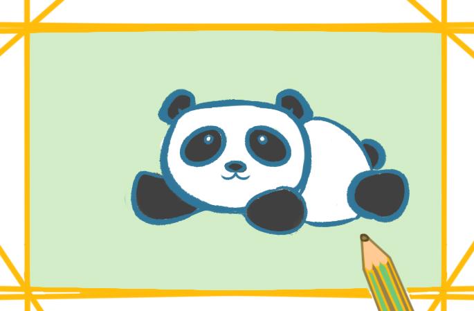 黑白色的大熊猫简笔画图片教程