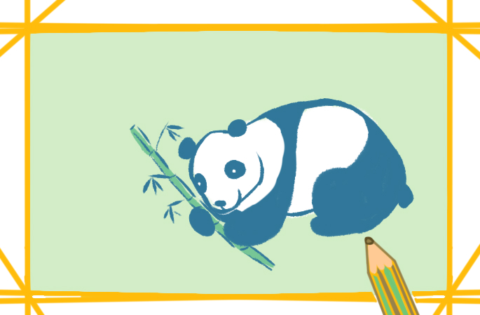 国宝大熊猫上色简笔画图片教程