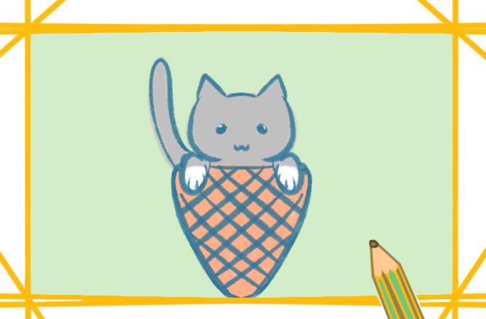 白襪子小黑貓上色簡筆畫要怎么畫