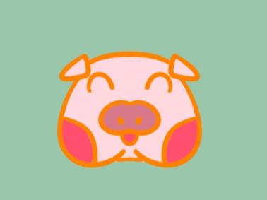 可爱的猪头简笔画图片怎么画