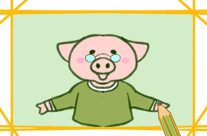 近视的卡通小猪简笔画图片怎么画