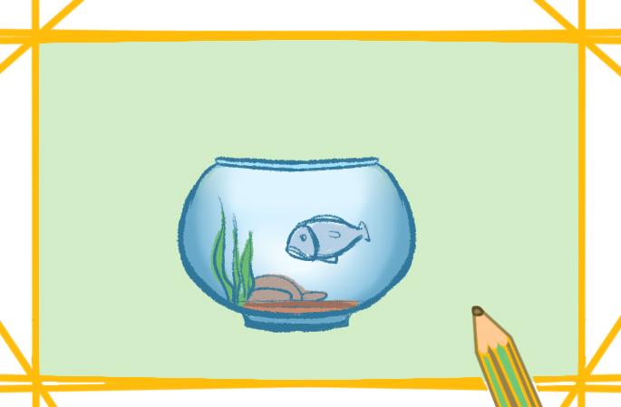 魚缸里的小魚上色簡筆畫要怎么畫
