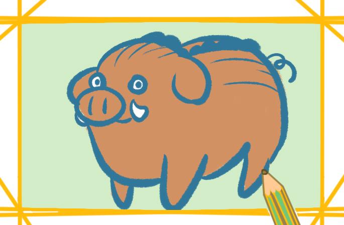 野外的小猪上色简笔画要怎么画