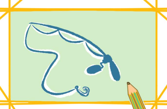 简单的鱼竿上色简笔画要怎么画