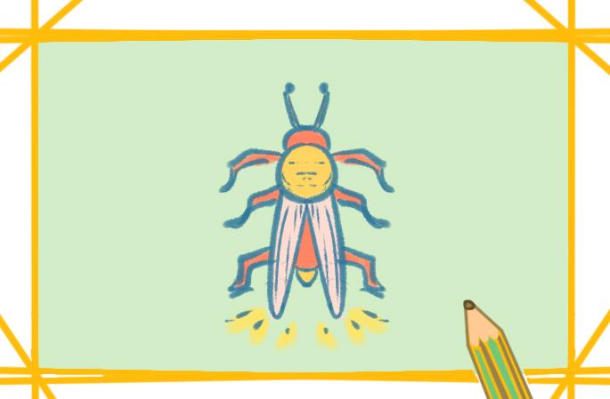 夏日螢火蟲上色簡筆畫圖片教程