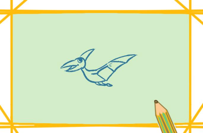 飞天的恐龙上色简笔画图片教程
