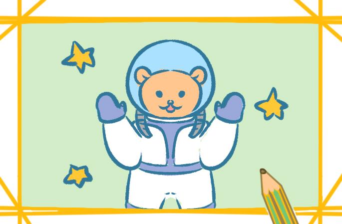 太空宇航員上色簡筆畫圖片教程