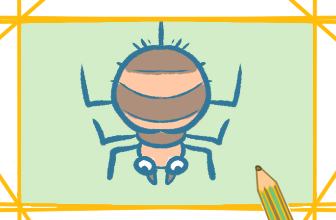 倒吊的蜘蛛上色简笔画图片教程