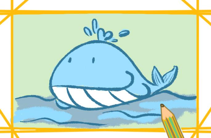 萌萌哒鲸鱼上色简笔画图片教程步骤
