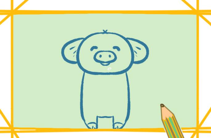 红色小猪上色简笔画要怎么画