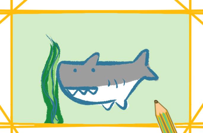 可愛的Q版鯊魚上色簡筆畫要怎么畫