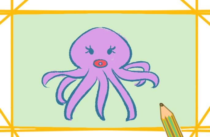超简单的章鱼图片一步一步画