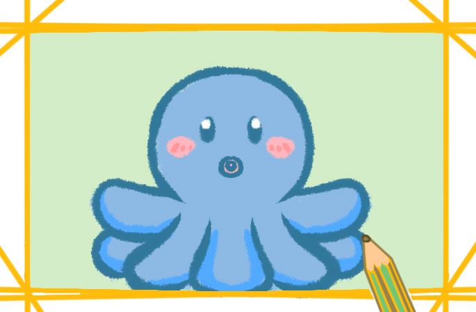 卡通漂亮的章鱼简笔画的图片怎么画
