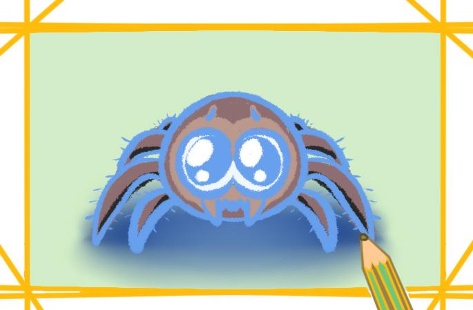 可爱的跳蛛上色简笔画图片教程步骤