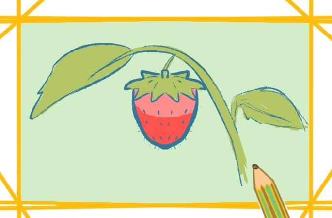 枝上的草莓上色簡筆畫要怎么畫