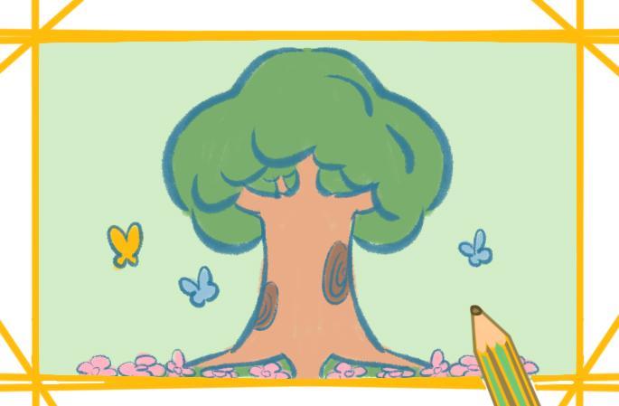 美麗的樹木上色簡筆畫圖片教程