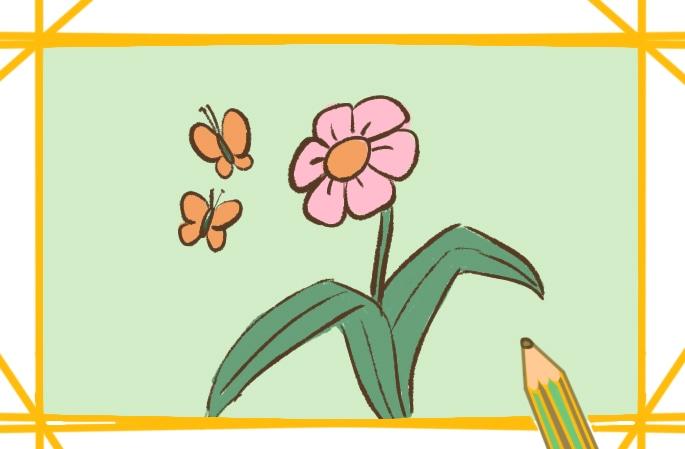 盛開的花兒上色簡筆畫圖片教程