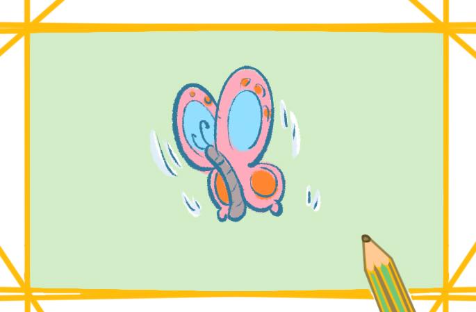 卡通蝴蝶简笔画彩色图片教程