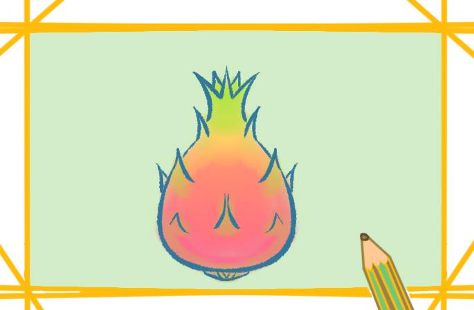 教你畫簡單的火龍果簡筆畫步驟圖