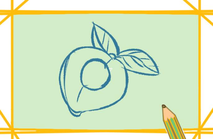 新鲜的黄桃上色简笔画要怎么画