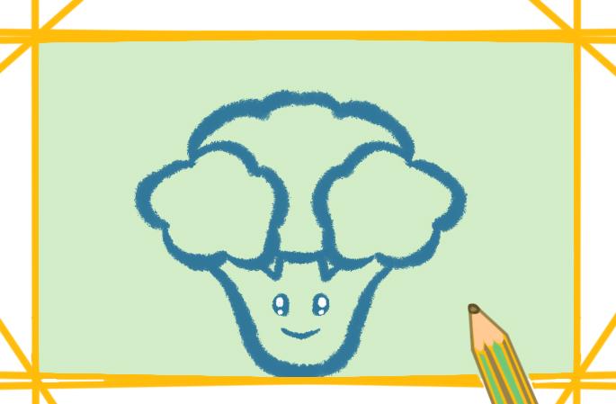 营养健康的西蓝花上色简笔画要怎么画