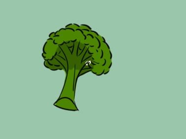 蔬菜西蓝花上色简笔画要怎么画
