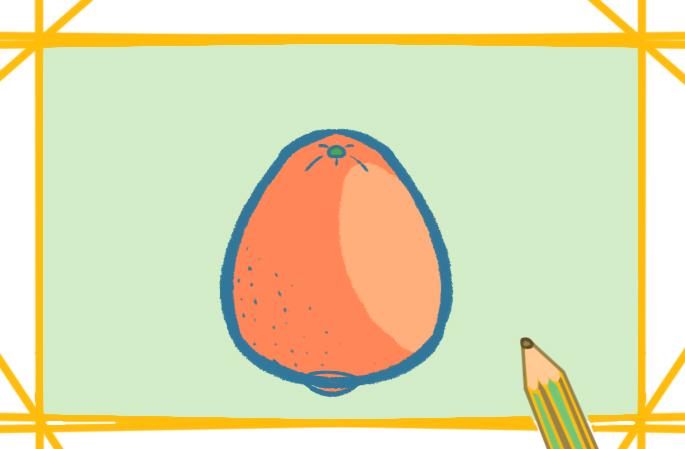 橙子簡筆畫帶顏色教程步驟圖片