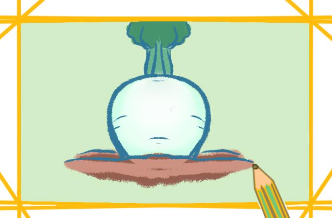 土里的白蘿卜簡筆畫圖片兒童畫