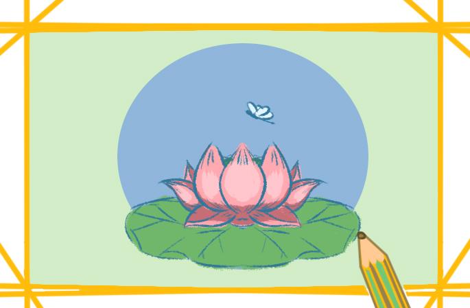 素雅蓮花上色簡筆畫圖片教程
