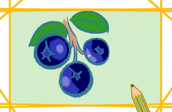 简单好看的蓝莓上色简笔画要怎么画