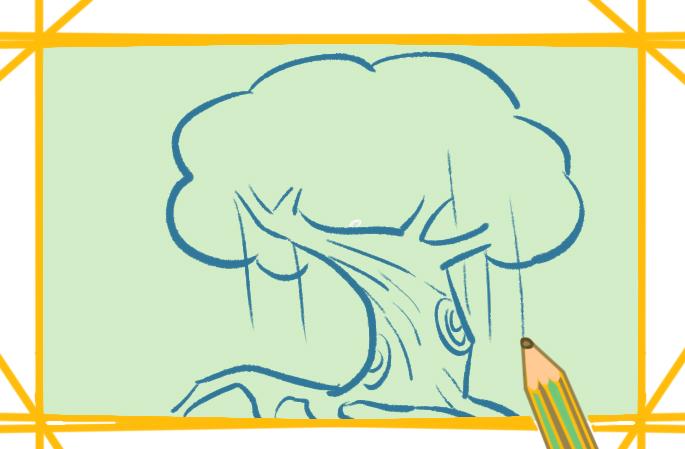 漂亮的榕树上色简笔画图片教程