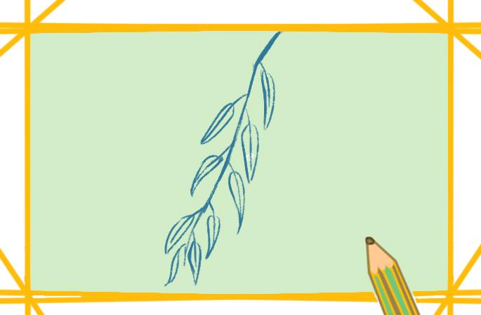 漂亮的柳枝上色简笔画要怎么画