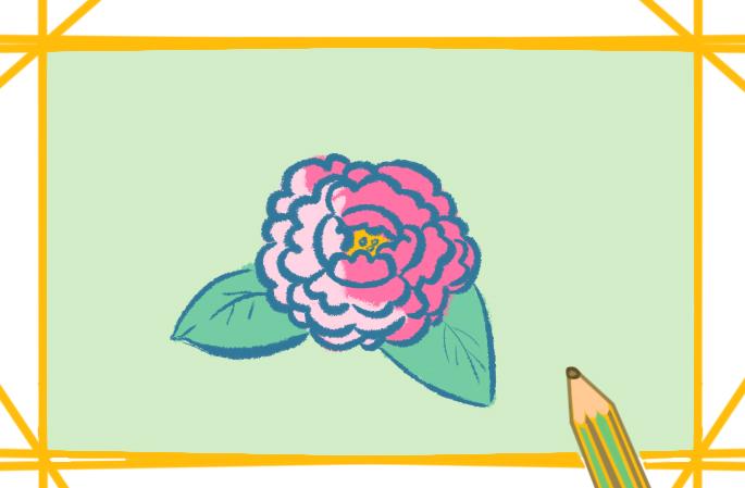 牡丹简笔画带颜色儿童画