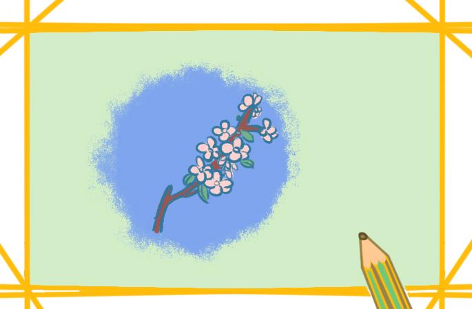 一枝桃花上色简笔画要怎么画