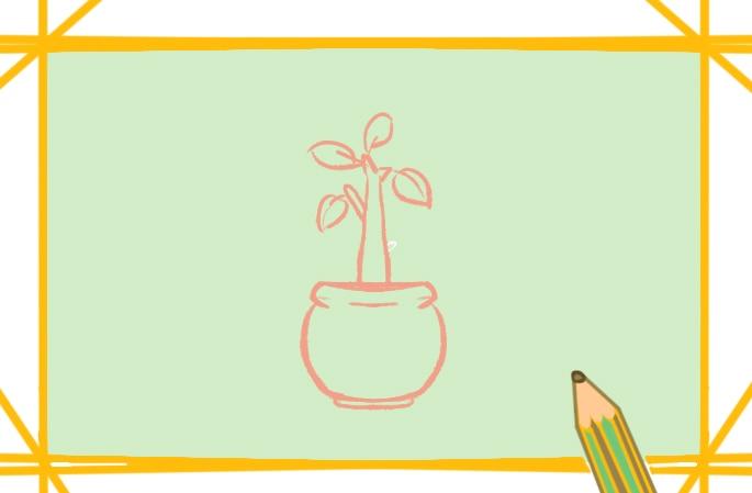 好看的盆栽植物上色簡筆畫圖片教程