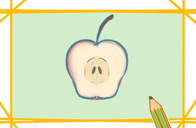 苹果的切面上色简笔画图片教程