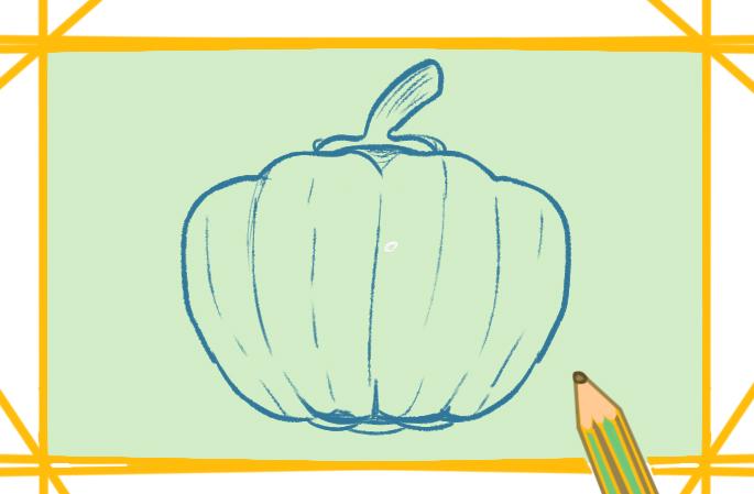蔬菜青椒上色简笔画图片教程