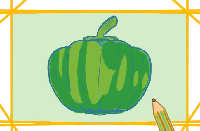 好看的蔬菜青椒上色简笔画要怎么画