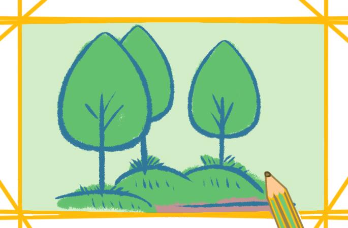 简单的树木带颜色的图片怎么画