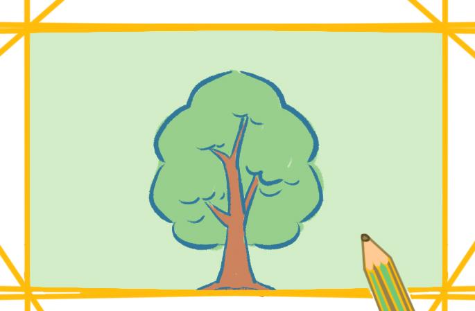 漂亮的树上色简笔画图片教程