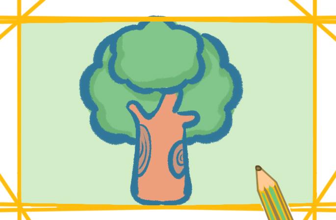 漂亮的小树上色简笔画要怎么画