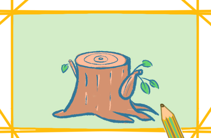 矮小的树桩上色简笔画要怎么画