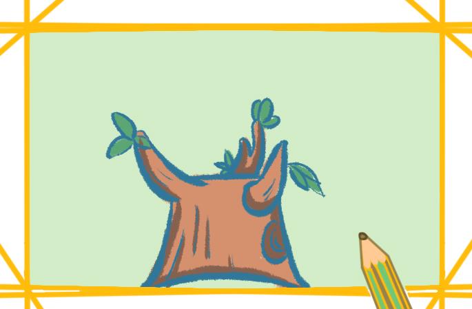 发芽的枯木上色简笔画要怎么画