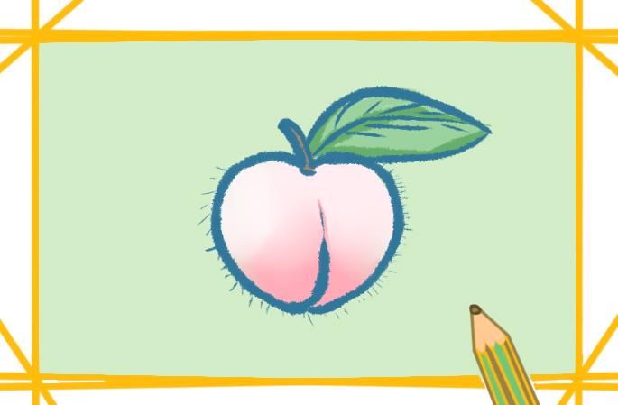 漂亮的桃上色簡筆畫圖片教程步驟