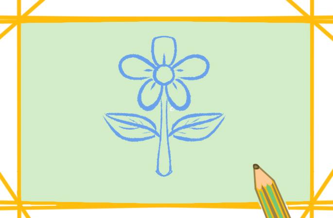 漂亮的白花上色简笔画图片教程步骤